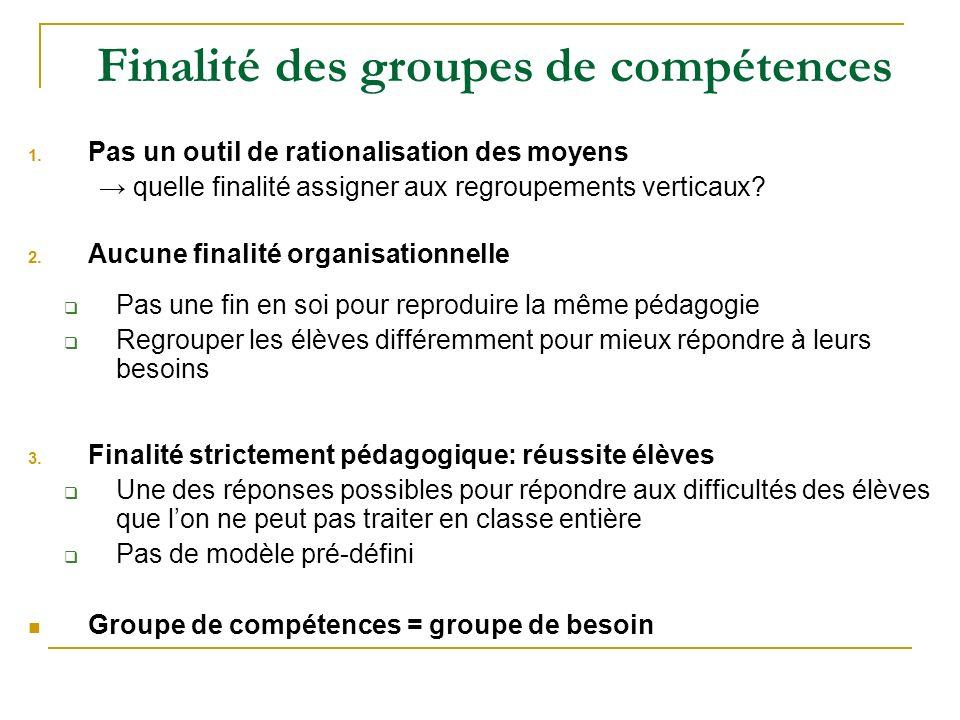 Finalité des groupes de compétences 1. Pas un outil de rationalisation des moyens quelle finalité assigner aux regroupements verticaux? 2. Aucune fina