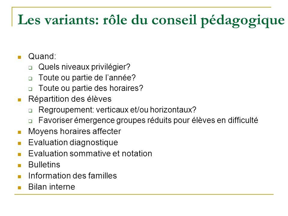 Les variants: rôle du conseil pédagogique Quand: Quels niveaux privilégier? Toute ou partie de lannée? Toute ou partie des horaires? Répartition des é