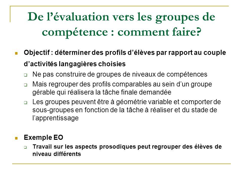 De lévaluation vers les groupes de compétence : comment faire? Objectif : déterminer des profils délèves par rapport au couple dactivités langagières