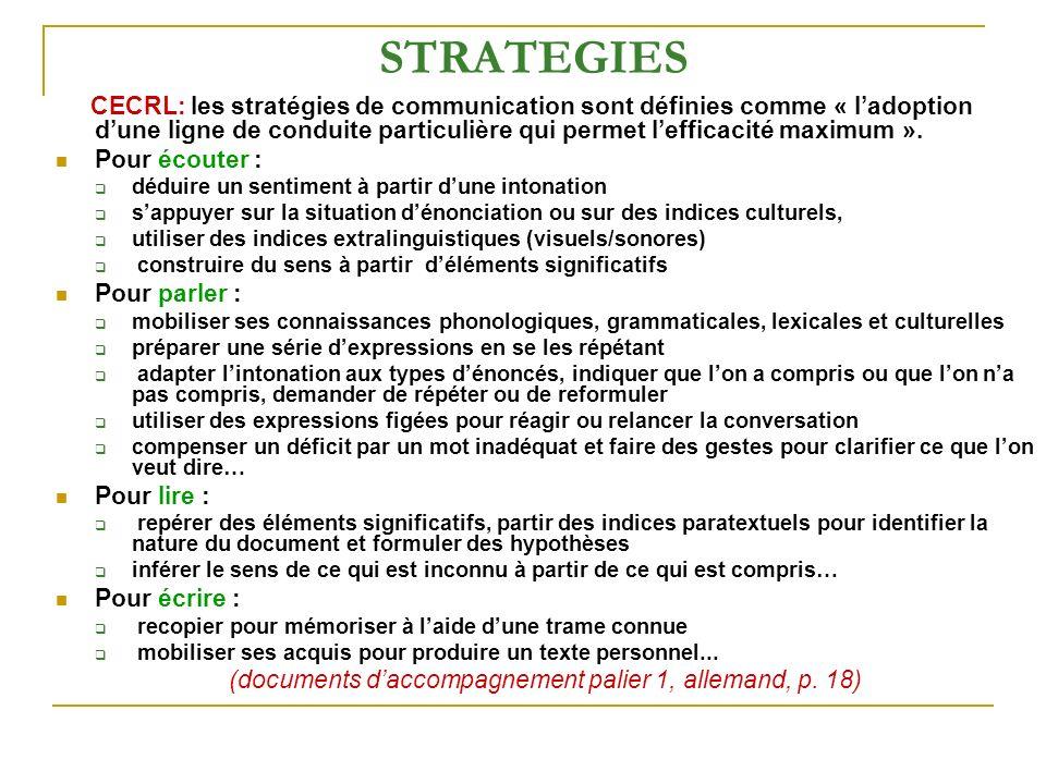 STRATEGIES CECRL: les stratégies de communication sont définies comme « ladoption dune ligne de conduite particulière qui permet lefficacité maximum »