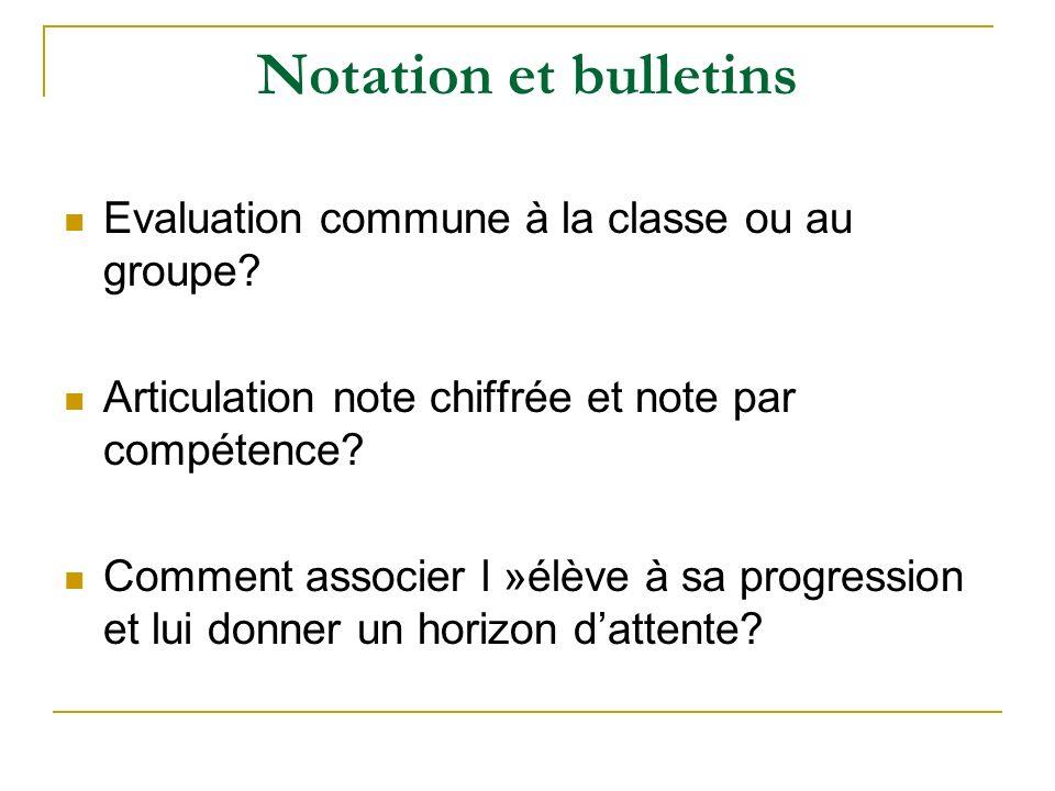 Notation et bulletins Evaluation commune à la classe ou au groupe? Articulation note chiffrée et note par compétence? Comment associer l »élève à sa p