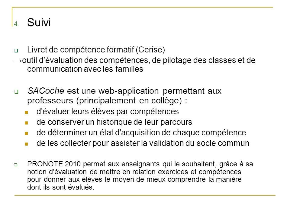 4. Suivi Livret de compétence formatif (Cerise) outil dévaluation des compétences, de pilotage des classes et de communication avec les familles SACoc