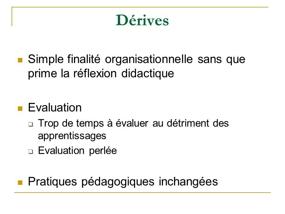 Dérives Simple finalité organisationnelle sans que prime la réflexion didactique Evaluation Trop de temps à évaluer au détriment des apprentissages Ev