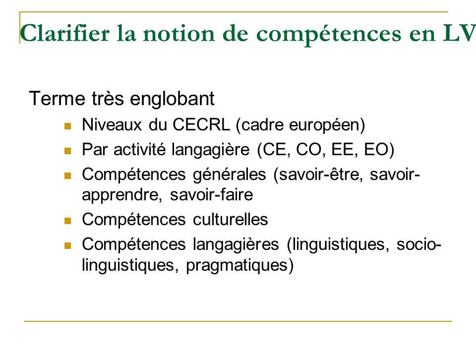 Clarifier la notion de compétences en LV Terme très englobant Niveaux du CECRL (cadre européen) Par activité langagière (CE, CO, EE, EO) Compétences g