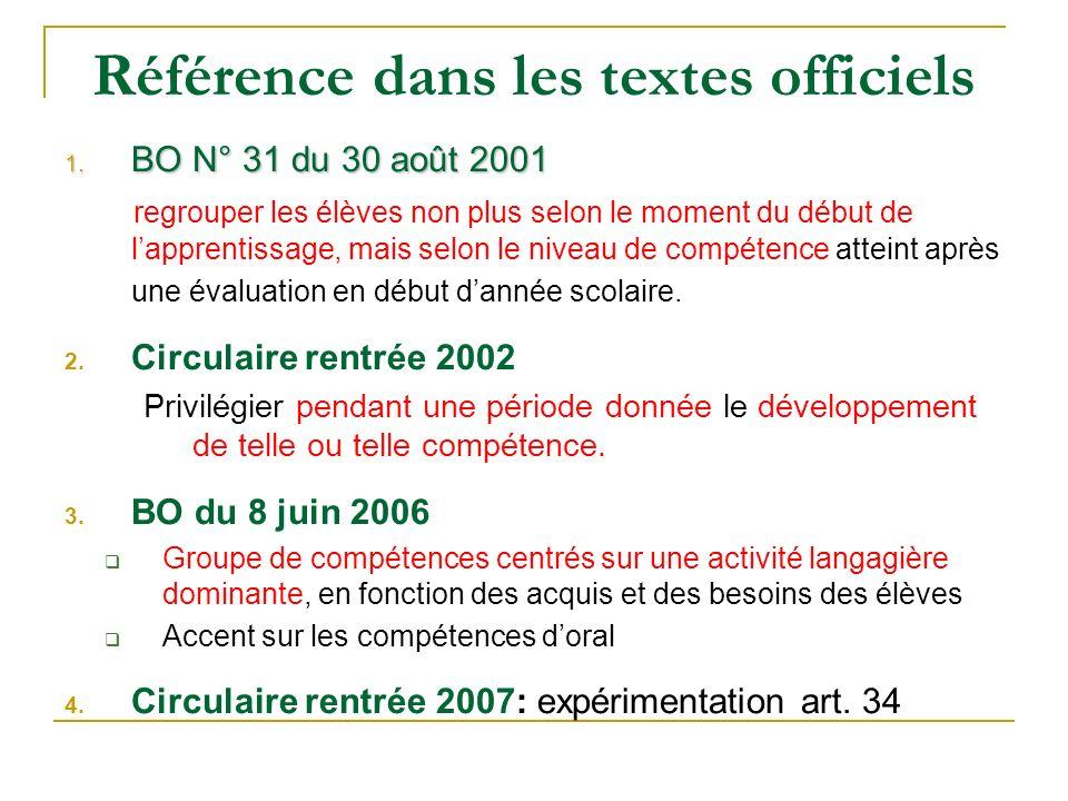 Référence dans les textes officiels 1. BO N° 31 du 30 août 2001 regrouper les élèves non plus selon le moment du début de lapprentissage, mais selon l
