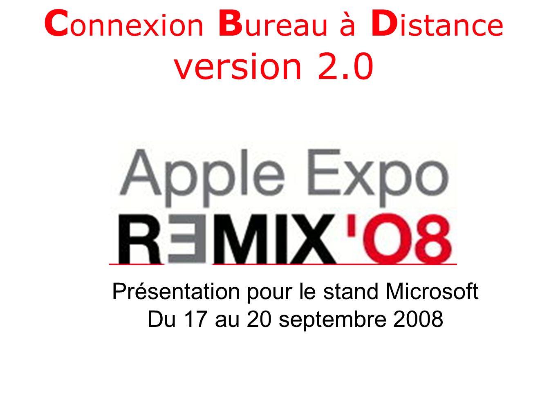 C onnexion B ureau à D istance version 2.0 Présentation pour le stand Microsoft Du 17 au 20 septembre 2008