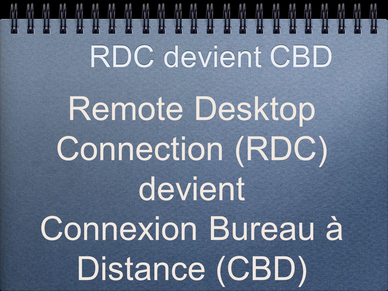 RDC devient CBD Remote Desktop Connection (RDC) devient Connexion Bureau à Distance (CBD)