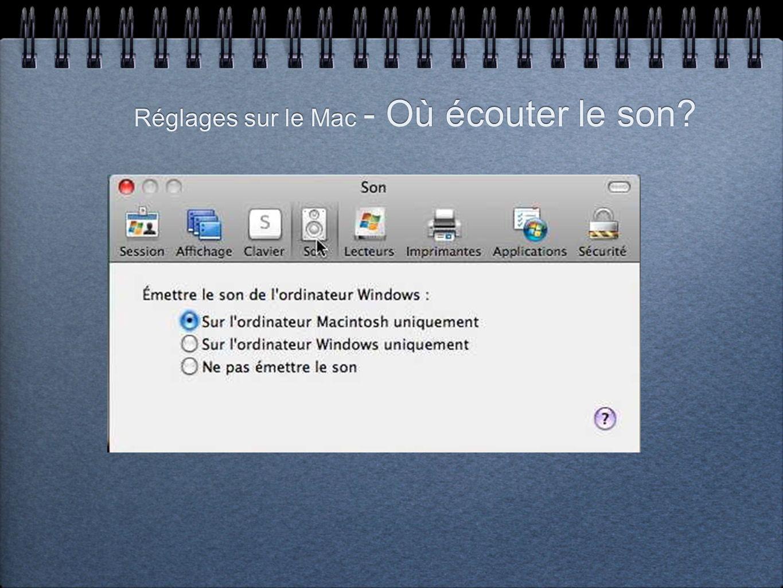 Réglages sur le Mac - Où écouter le son?