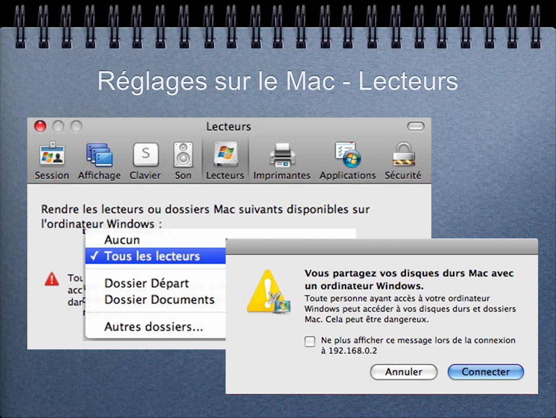 Réglages sur le Mac - Lecteurs