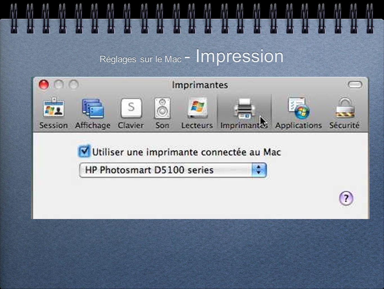Réglages sur le Mac - Impression