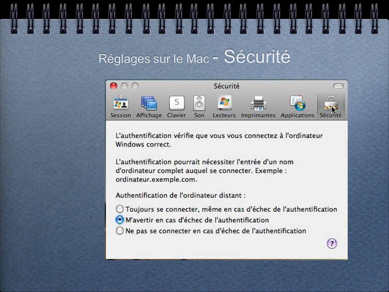 Réglages sur le Mac - Sécurité