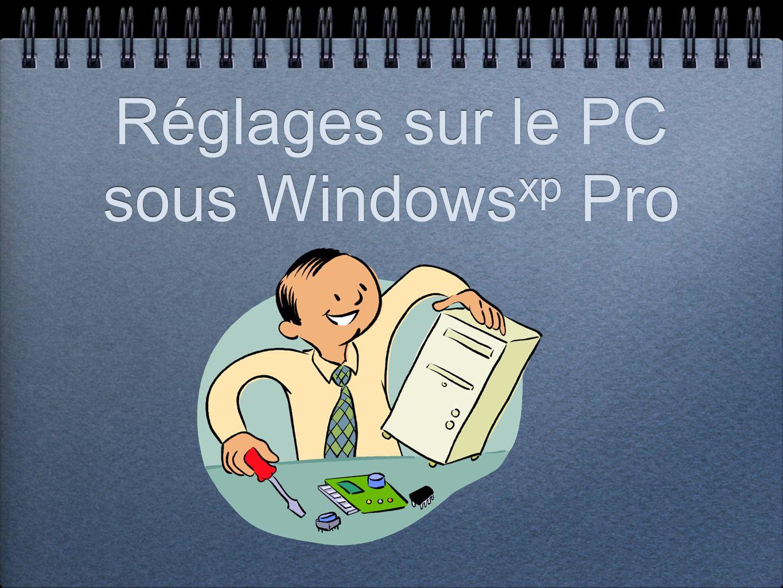 Réglages sur le PC sous Windows xp Pro