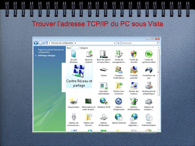 Trouver ladresse TCP/IP du PC sous Vista