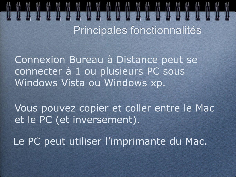 Principales fonctionnalités Le PC peut utiliser limprimante du Mac.
