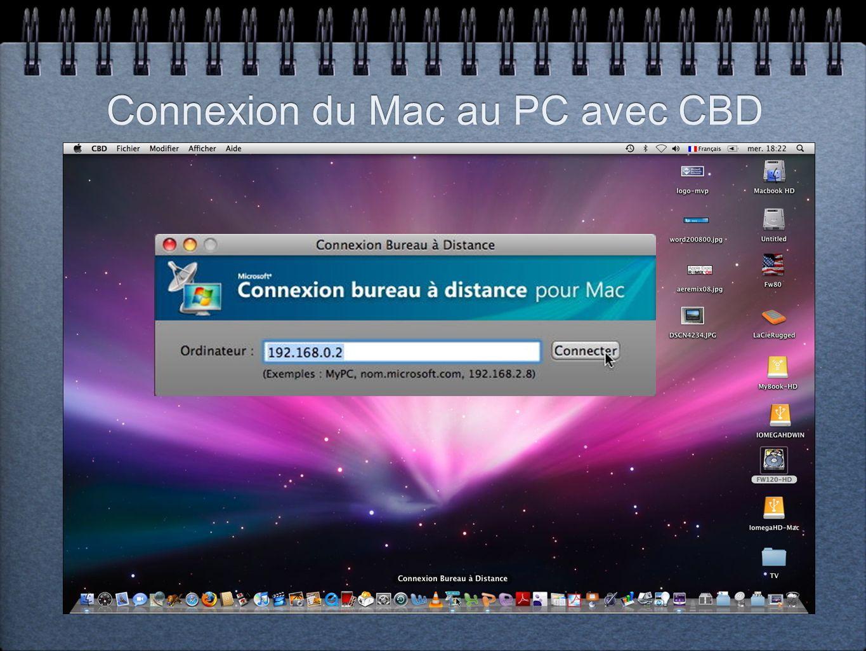 Connexion du Mac au PC avec CBD