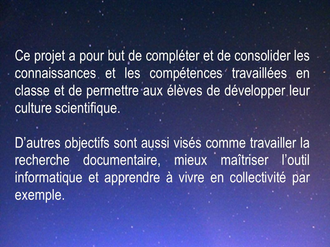 Ce projet a pour but de compléter et de consolider les connaissances et les compétences travaillées en classe et de permettre aux élèves de développer leur culture scientifique.