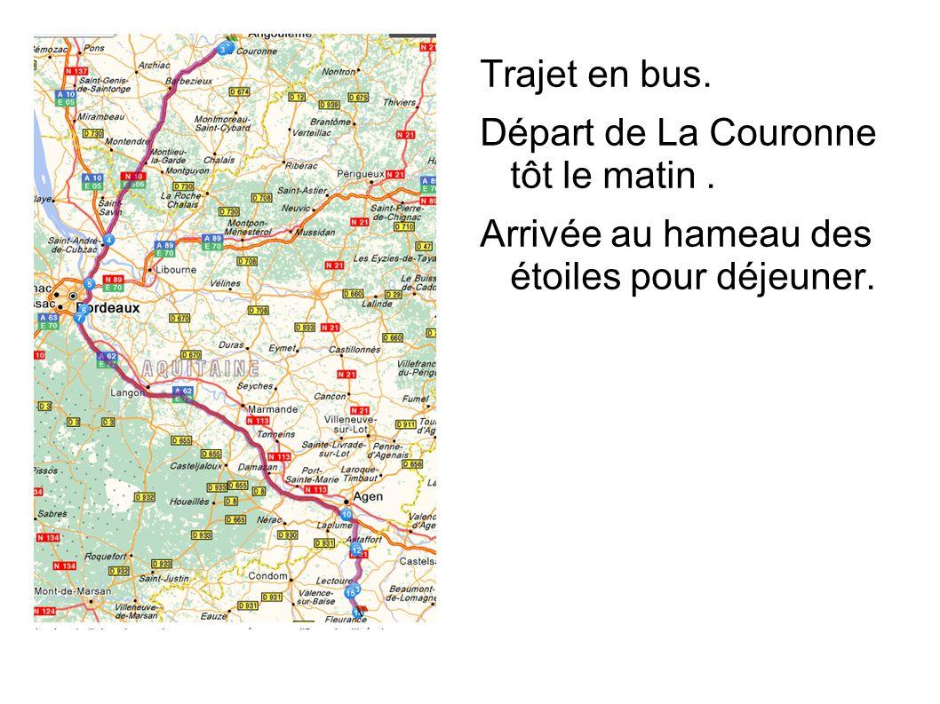 Trajet en bus. Départ de La Couronne tôt le matin. Arrivée au hameau des étoiles pour déjeuner.