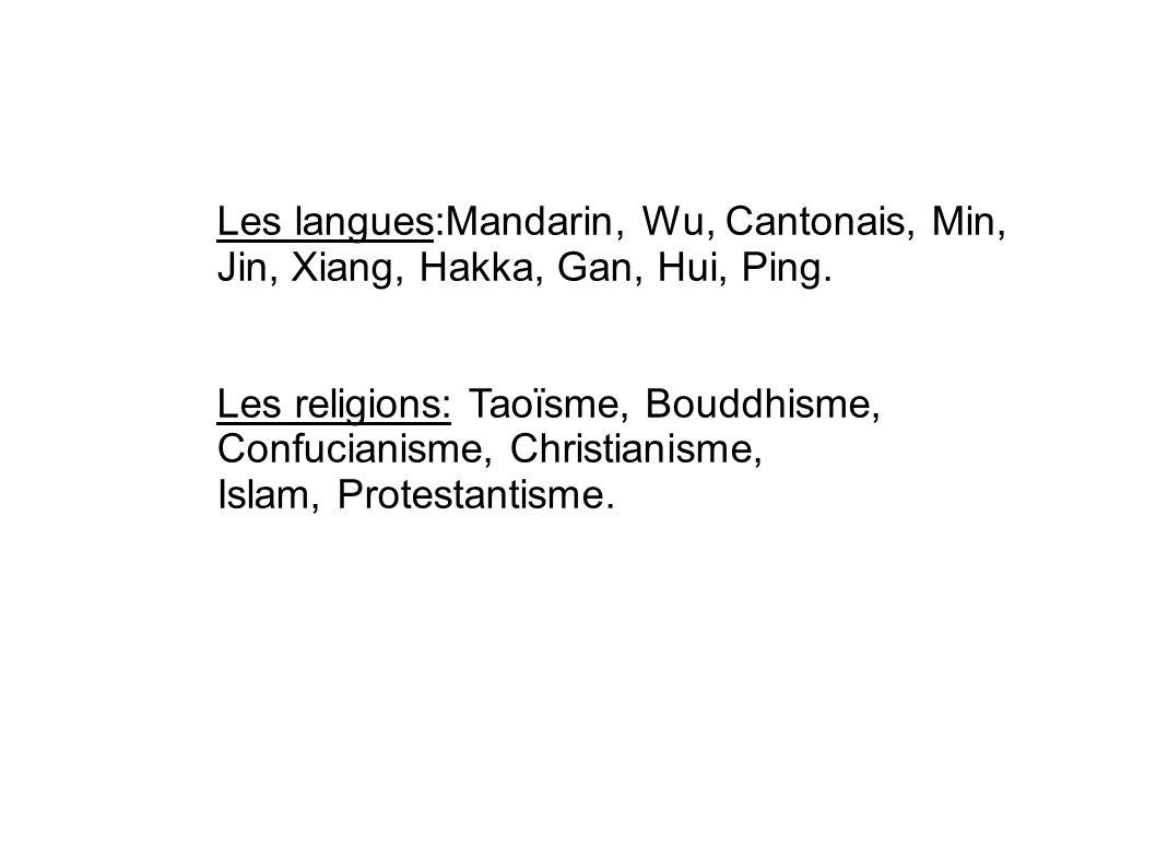 Les langues:Mandarin, Wu, Cantonais, Min, Jin, Xiang, Hakka, Gan, Hui, Ping. Les religions: Taoïsme, Bouddhisme, Confucianisme, Christianisme, Islam,