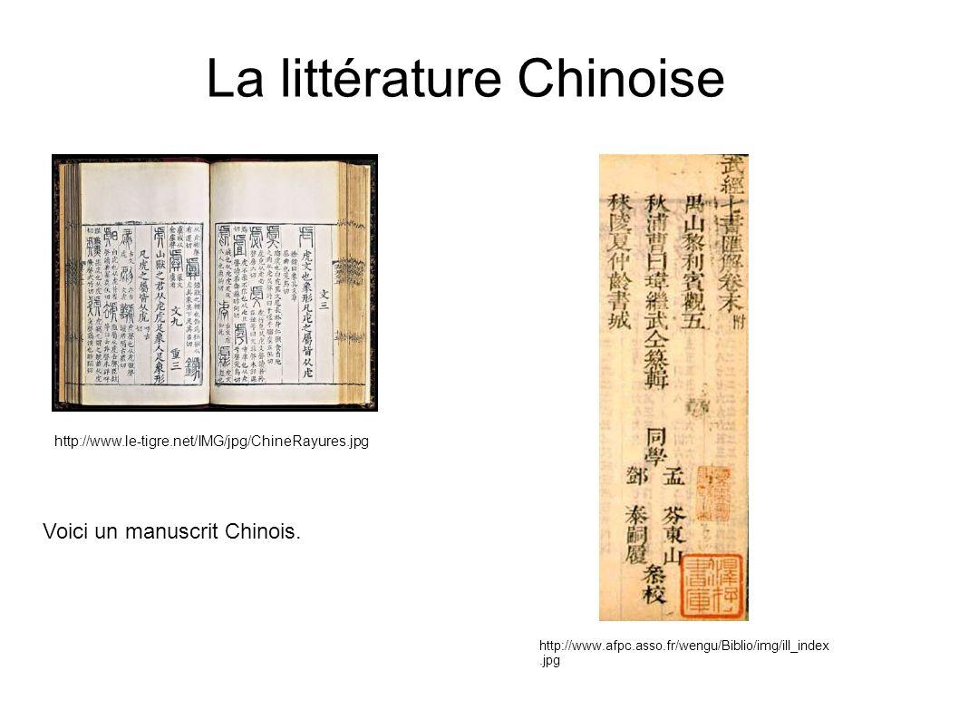 La littérature Chinoise http://www.le-tigre.net/IMG/jpg/ChineRayures.jpg http://www.afpc.asso.fr/wengu/Biblio/img/ill_index.jpg Voici un manuscrit Chi
