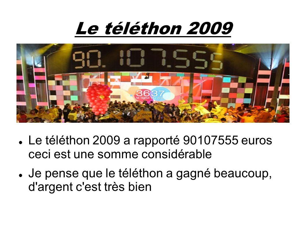 Le téléthon 2009 Le téléthon 2009 a rapporté 90107555 euros ceci est une somme considérable Je pense que le téléthon a gagné beaucoup, d'argent c'est