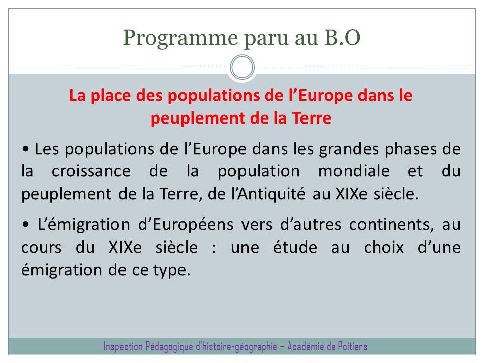 Programme paru au B.O La place des populations de lEurope dans le peuplement de la Terre Les populations de lEurope dans les grandes phases de la croi