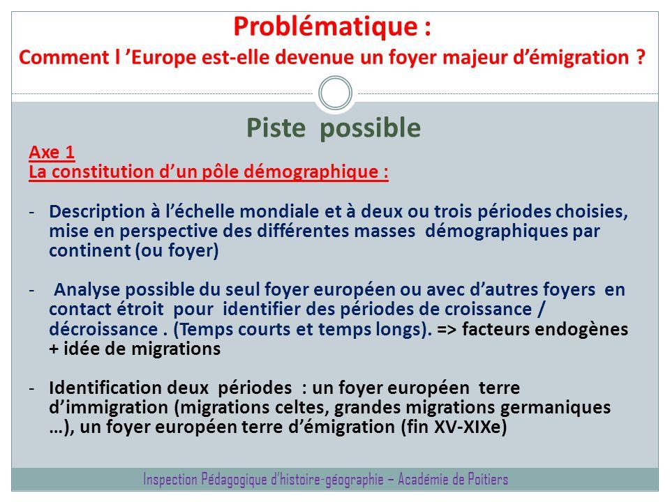 Problématique : Comment l Europe est-elle devenue un foyer majeur démigration ? Piste possible Axe 1 La constitution dun pôle démographique : -Descrip