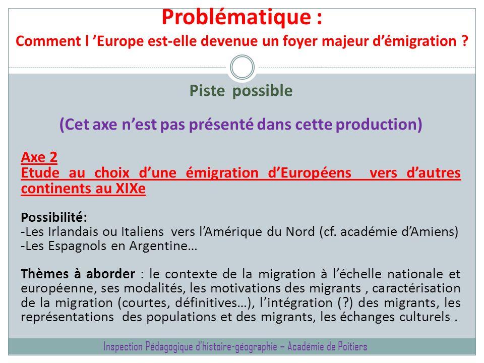 Problématique : Comment l Europe est-elle devenue un foyer majeur démigration ? Piste possible (Cet axe nest pas présenté dans cette production) Axe 2