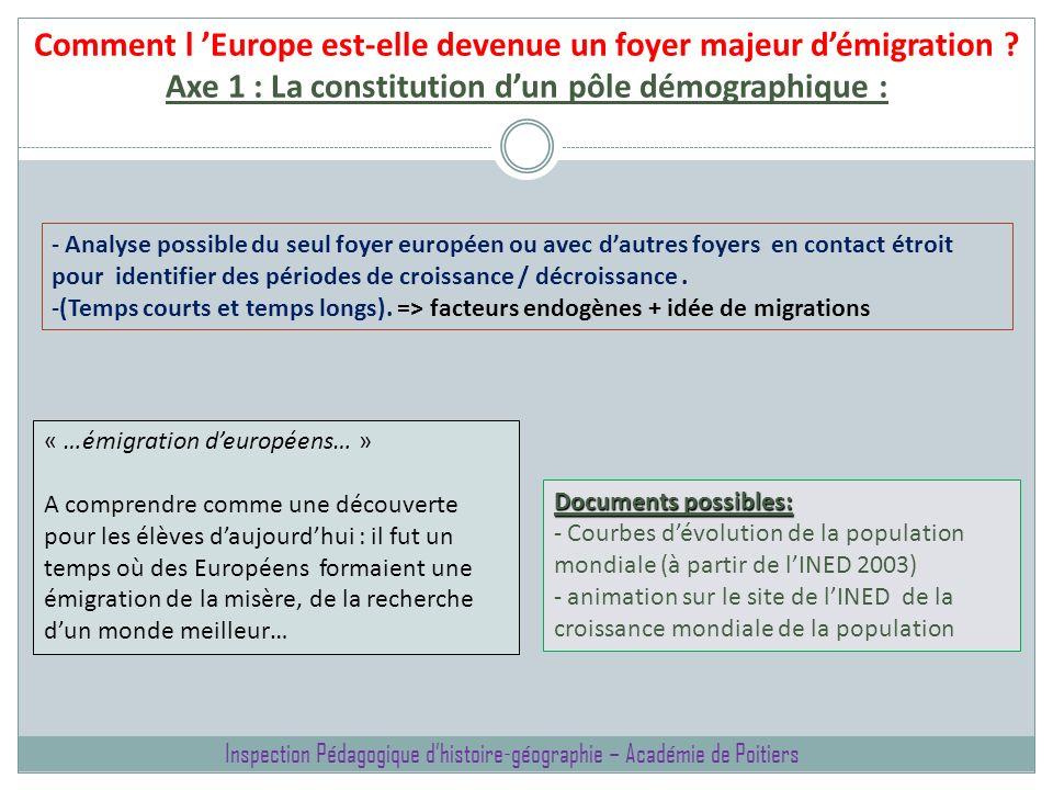 Comment l Europe est-elle devenue un foyer majeur démigration ? Axe 1 : La constitution dun pôle démographique : « …émigration deuropéens… » A compren