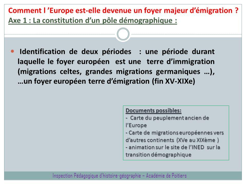 Comment l Europe est-elle devenue un foyer majeur démigration ? Axe 1 : La constitution dun pôle démographique : Identification de deux périodes : une
