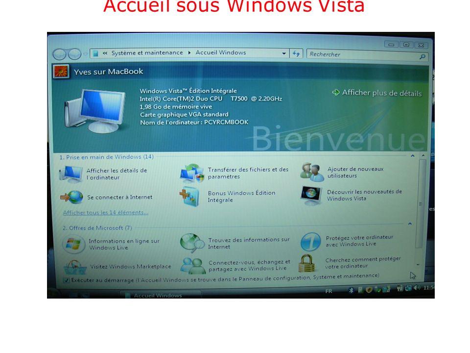 Accueil sous Windows Vista