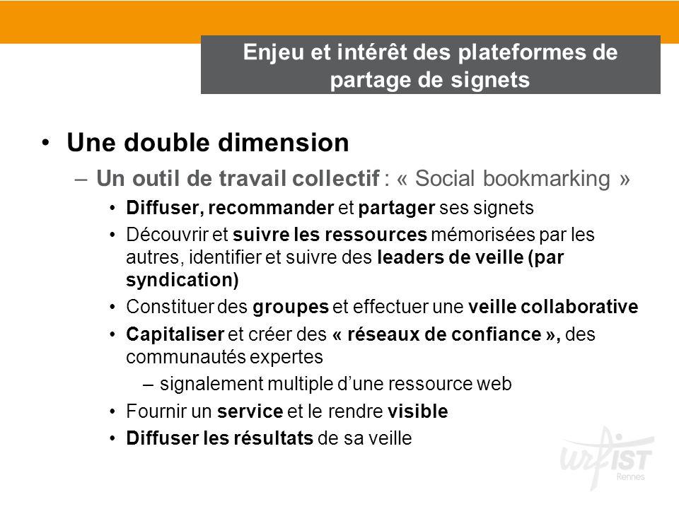 Une double dimension –Un outil de travail collectif : « Social bookmarking » Diffuser, recommander et partager ses signets Découvrir et suivre les res