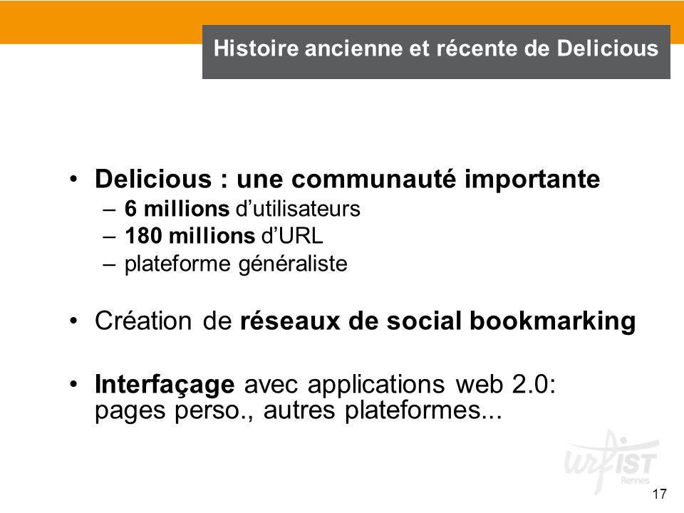 Delicious : une communauté importante –6 millions dutilisateurs –180 millions dURL –plateforme généraliste Création de réseaux de social bookmarking I