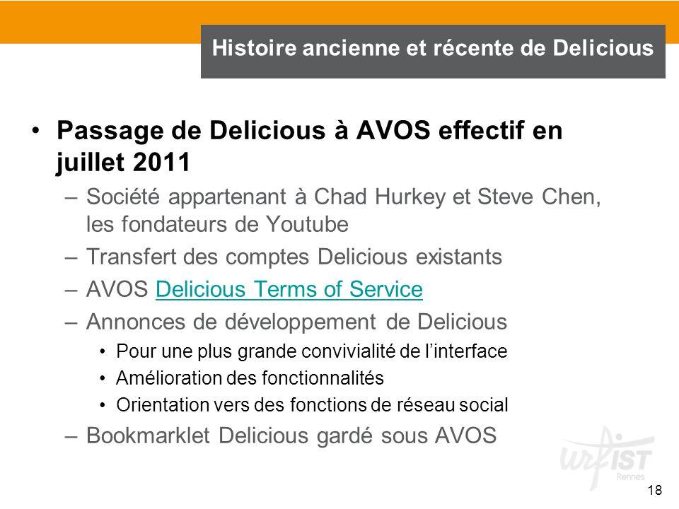 18 Histoire ancienne et récente de Delicious Passage de Delicious à AVOS effectif en juillet 2011 –Société appartenant à Chad Hurkey et Steve Chen, le