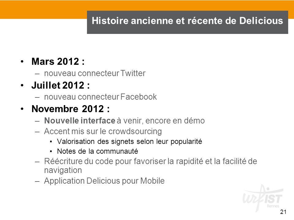 21 Histoire ancienne et récente de Delicious Mars 2012 : –nouveau connecteur Twitter Juillet 2012 : –nouveau connecteur Facebook Novembre 2012 : –Nouv