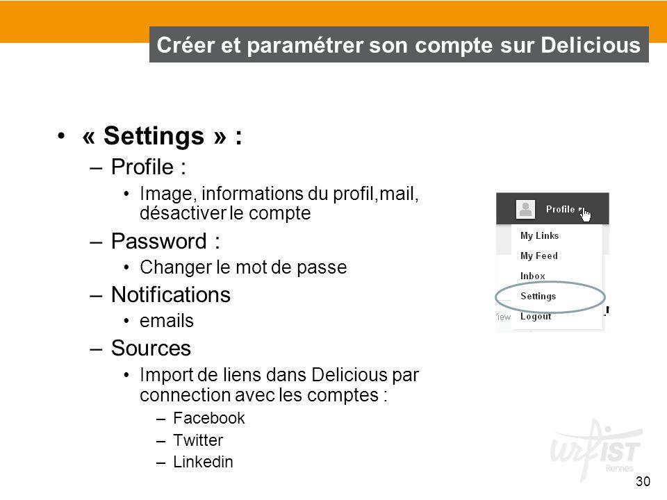 « Settings » : –Profile : Image, informations du profil,mail, désactiver le compte –Password : Changer le mot de passe –Notifications emails –Sources