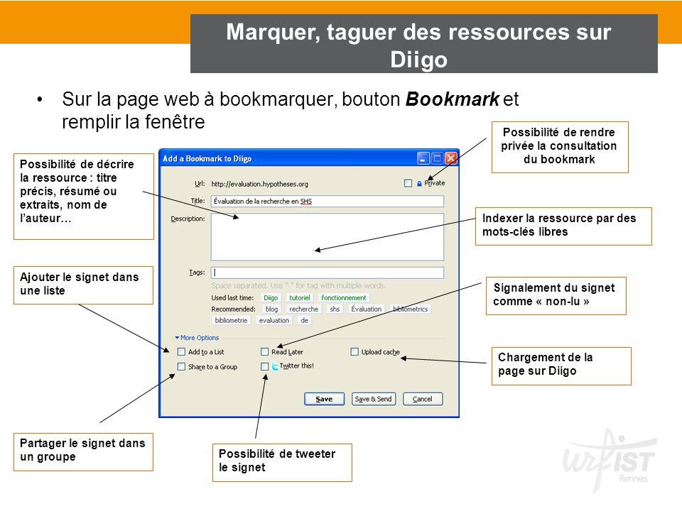 Marquer, taguer des ressources sur Diigo Sur la page web à bookmarquer, bouton Bookmark et remplir la fenêtre Possibilité de décrire la ressource : ti