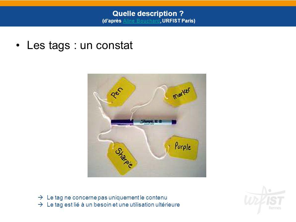 Les tags : un constat Quelle description ? (daprès Aline Bouchard, URFIST Paris)Aline Bouchard Le tag ne concerne pas uniquement le contenu Le tag est