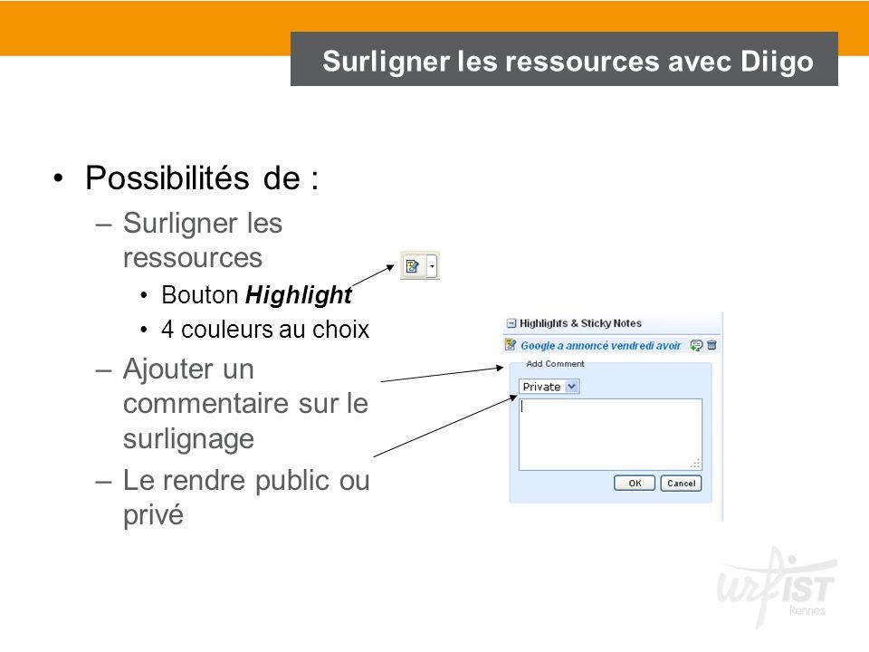 Surligner les ressources avec Diigo Possibilités de : –Surligner les ressources Bouton Highlight 4 couleurs au choix –Ajouter un commentaire sur le su