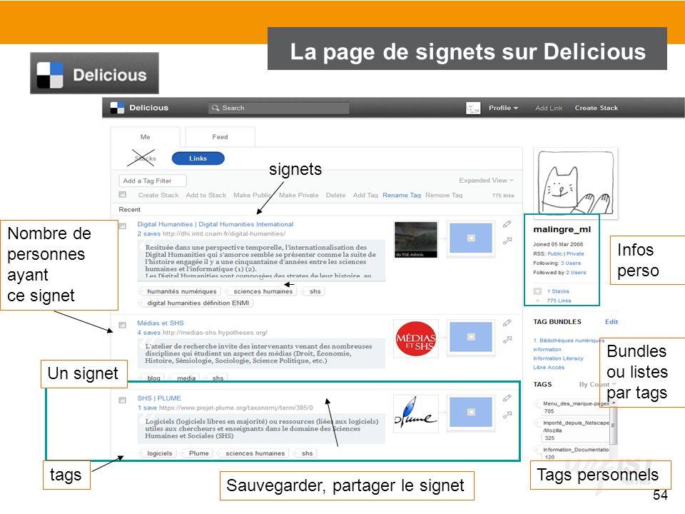 La page de signets sur Delicious Un signet Sauvegarder, partager le signet Nombre de personnes ayant ce signet tags 54 Tags personnels Bundles ou list