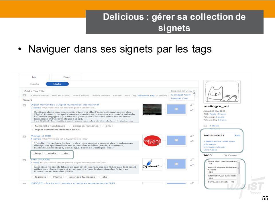 Naviguer dans ses signets par les tags 55 Delicious : gérer sa collection de signets
