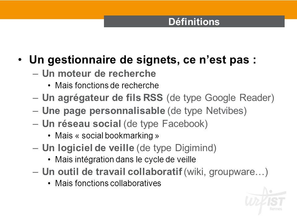 Un gestionnaire de signets, ce nest pas : –Un moteur de recherche Mais fonctions de recherche –Un agrégateur de fils RSS (de type Google Reader) –Une