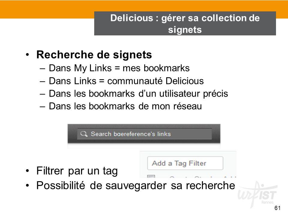 Recherche de signets –Dans My Links = mes bookmarks –Dans Links = communauté Delicious –Dans les bookmarks dun utilisateur précis –Dans les bookmarks