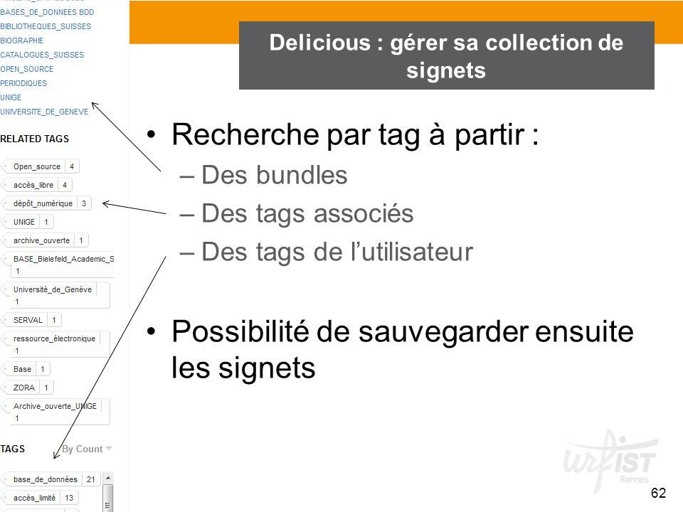62 Delicious : gérer sa collection de signets Recherche par tag à partir : –Des bundles –Des tags associés –Des tags de lutilisateur Possibilité de sa