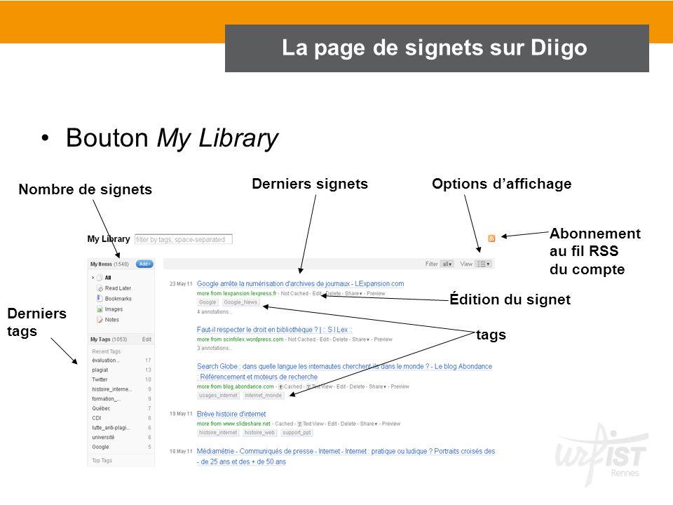 La page de signets sur Diigo Bouton My Library Derniers signets Derniers tags Nombre de signets Options daffichage Abonnement au fil RSS du compte tag