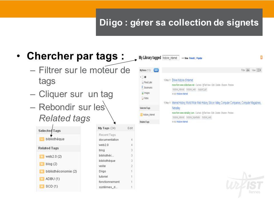 Chercher par tags : –Filtrer sur le moteur de tags –Cliquer sur un tag –Rebondir sur les Related tags Diigo : gérer sa collection de signets