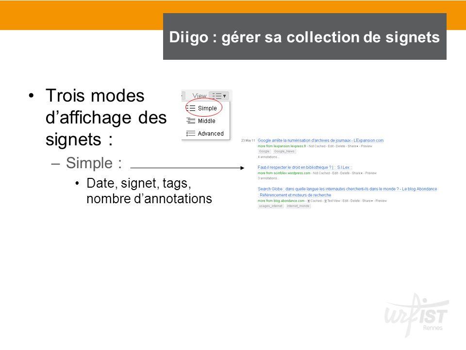 Trois modes daffichage des signets : –Simple : Date, signet, tags, nombre dannotations Diigo : gérer sa collection de signets