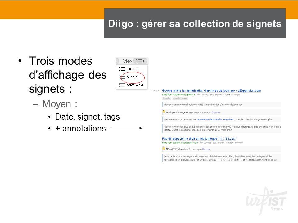 Trois modes daffichage des signets : –Moyen : Date, signet, tags + annotations Diigo : gérer sa collection de signets