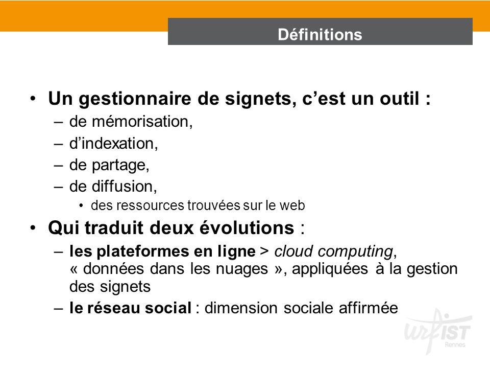 Un gestionnaire de signets, cest un outil : –de mémorisation, –dindexation, –de partage, –de diffusion, des ressources trouvées sur le web Qui traduit
