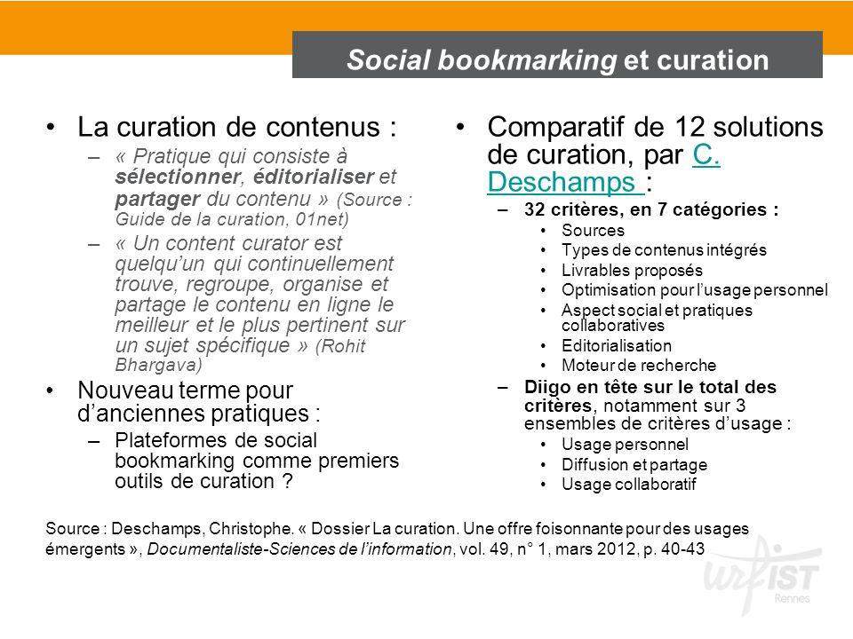 Social bookmarking et curation La curation de contenus : –« Pratique qui consiste à sélectionner, éditorialiser et partager du contenu » (Source : Gui