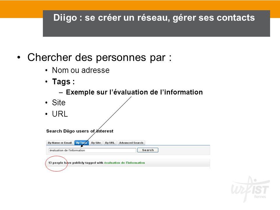 Chercher des personnes par : Nom ou adresse Tags : –Exemple sur lévaluation de linformation Site URL Diigo : se créer un réseau, gérer ses contacts